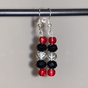 Red & Black Beaded Earrings